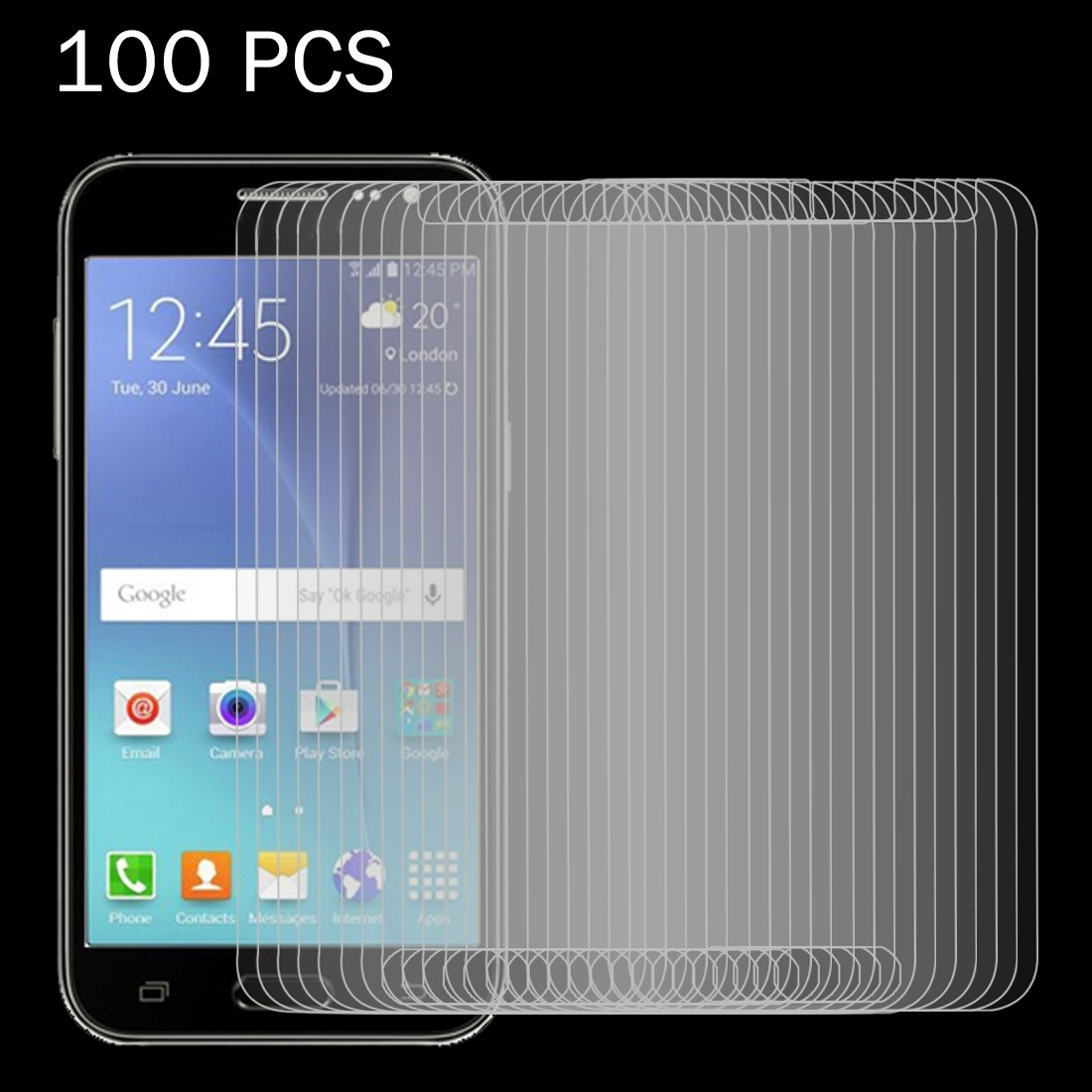 J200 0.26mm 9H Surface Hardness 2.5D Explosion-Proof Tempered Glass Screen Film Anti-Scratch Screen Protector Premium Tempered Glass Screen Film 100 PCS for Galaxy J2
