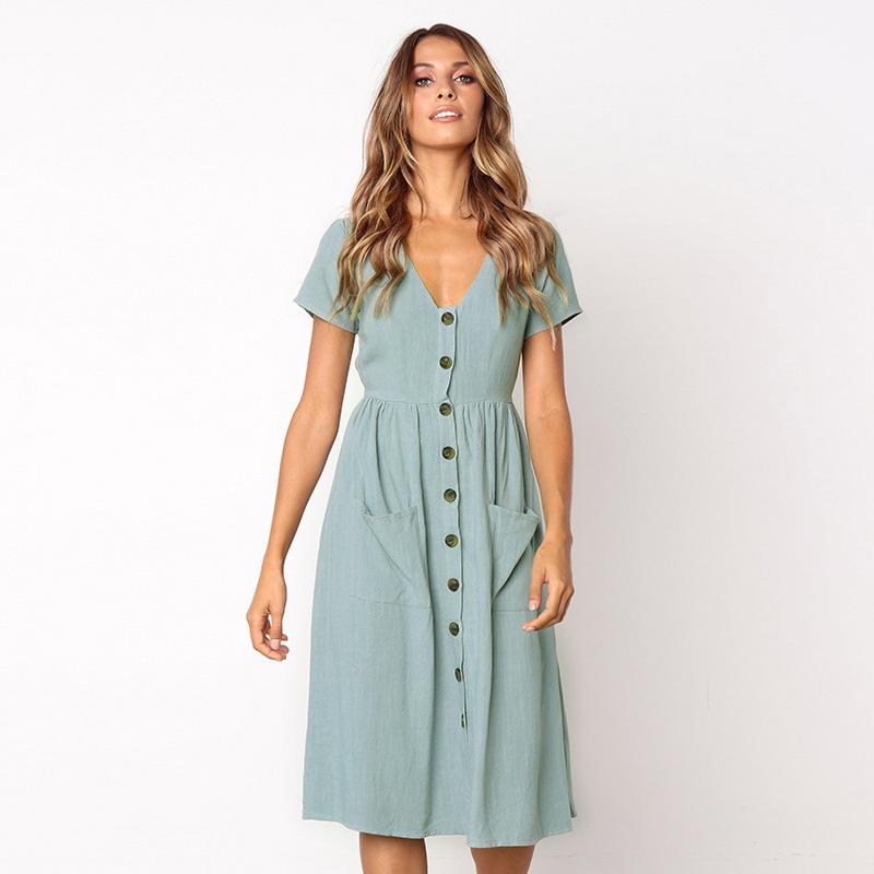 Kadın Modası Kısa Kollu V Yaka Düğme Aşağı Salıncak Midi Cepler Plaj Yaz Elbise Q190510