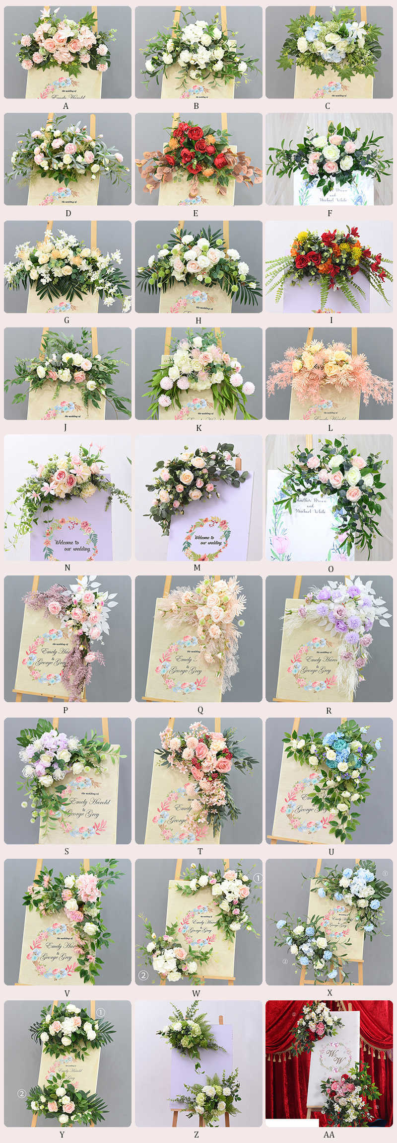 JAROWN Wedding Flower Row Welcome Sign Simulation Floral Hotel Creative Guide Decorations Photography Props Home Door Flower (28)
