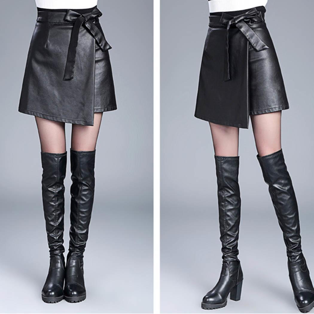 Новая Мода Новая Мода Женщины Повседневная Высокая Талия Галстук-Бабочку Твердые Линии Юбки Новая Мода Повседневная Юбка