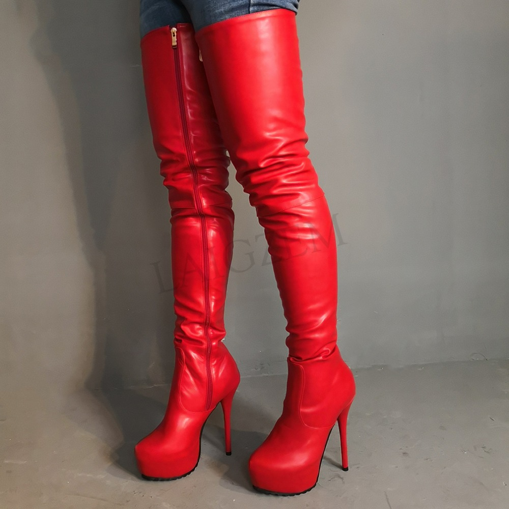 LAIGZEM Women Thigh High Boots Club Party Show Over the Knee Crotch Boots Shoes Woman Female Bota Botines Mujer Big Size 4-19