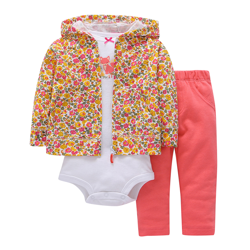 2018 Spring Autumn kids Baby boy girl Clothing Suit Long Sleeve Printing hooded coat+bodysuit+pant bebes 3 pieces newborn set