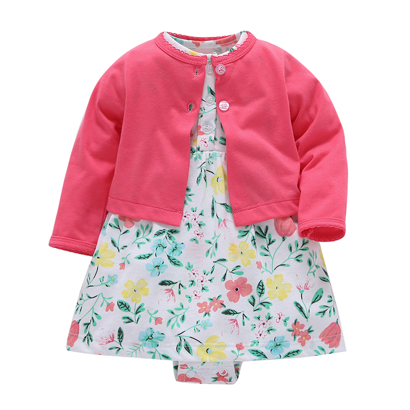 2018 Spring autumn new born girl outfits,long sleeve cardigan+floral rompers dress cotton 2PCS clothing set for 6-24m baby girls