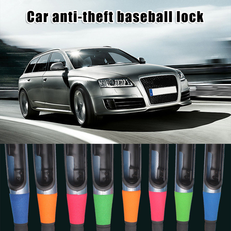 Anti Theft Steering Wheel Lock Baseball Bat Type Security Device Universal For Car Suv With 2 Keys Orange