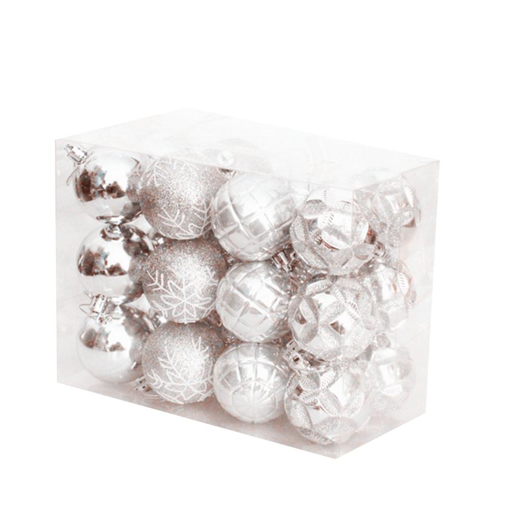 Boule De Noel Transparente A Decorer 24pcs traditionnel incassables boule de noël décorations de sapin de noël  boules de décoration (silvery) __gvirt_np_nn_nnps<__ argent