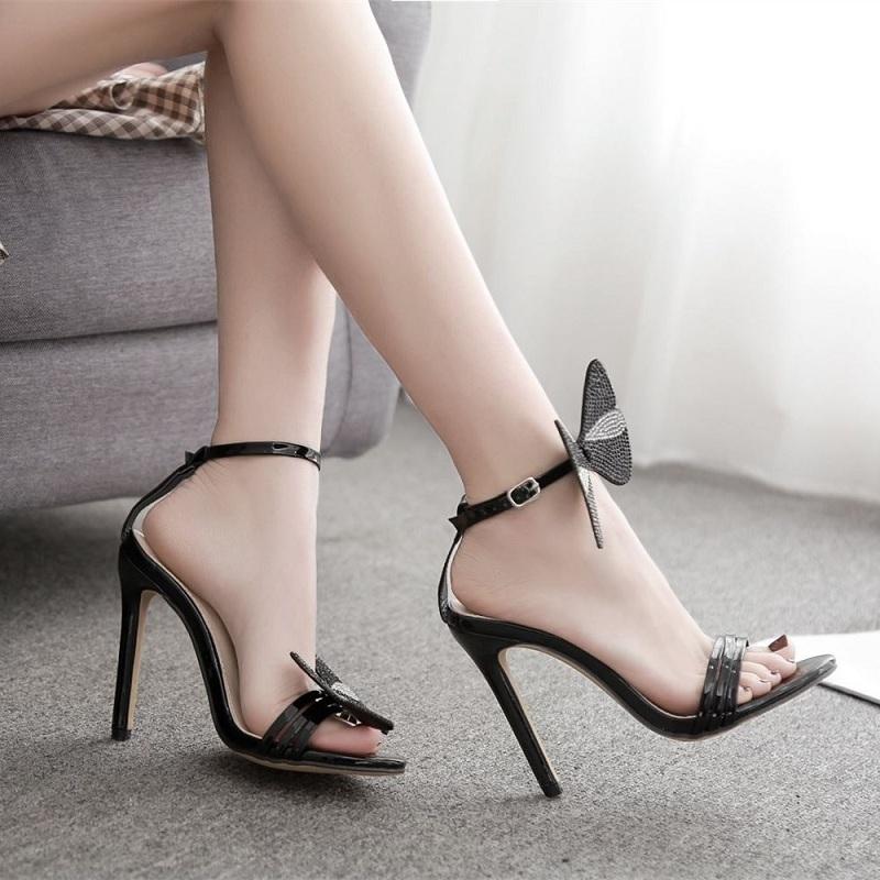 De Verano Arco Fiestas Compre Sandalias Punta Para Altos Zapatos Con Mujer Tacones Bombas Lujo Cristal Abierta Sexy Stiletto UMqSzVp