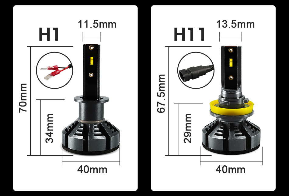 2Pcs H4 LED H7 H11 H8 9006 HB4 H1 H3 HB3 H9 H27 Car Headlight Bulbs LED Lamp with Philips Chip 8000LM Auto Fog Lights 6000K 12V