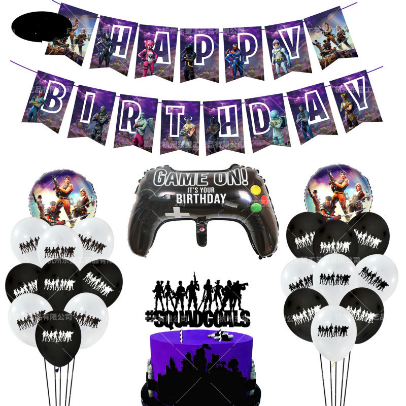 Persönlichkeit Lila Gamepad Pull Flag Kucheneinsätze Und Andere Aluminium Ballon Set Geburtstag Spiel Party Kindertag Dekoration J190723
