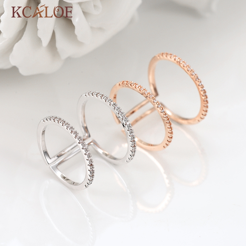 wholesale Crystal Rhinestone Minimalist Ring Rose Gold Color Adjustable Finger Rings For Women Wedding Engagement Ring Anillos