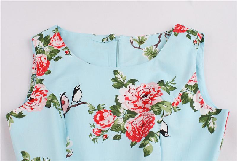 Kostlish 9 Style Print Summer Dress Women 2017 Sleeveless Swing 1950s Hepburn Vintage Tunic Dress Elegant Party Dresses Sundress (80)
