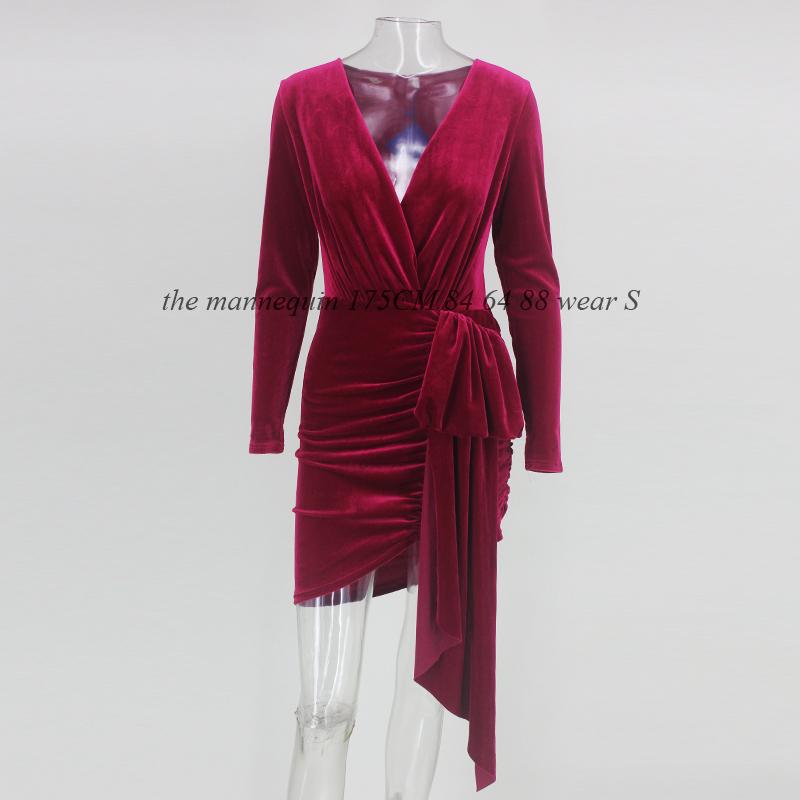 Nattemaid Autumn Winter Wrap Bandage Bodycon Dresses Women Deep V Neck Mini Sexy Dress Elegant Red Velvet Party Dress Vestidos T190411