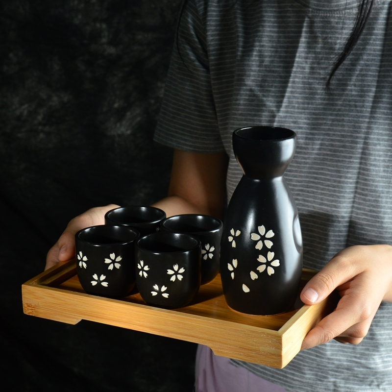 Japan Porcelain Vintage Ceramic Pot Flagon Liquor Spirits Cups Set Kitchen Dining Bar Drinkware Japanese Sake Wine Set