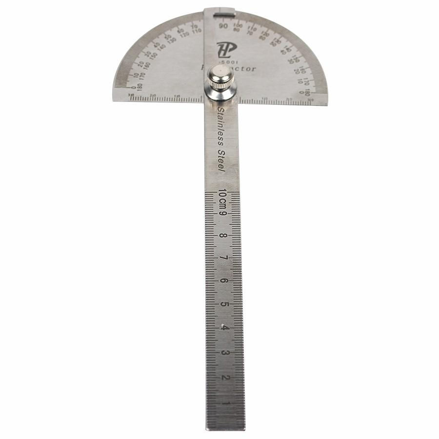 Stainless Steel Round Head 180 degree Protractor Angle Finder Rotary Measuring Ruler Machinist Tool Craftsman Digital Ruler