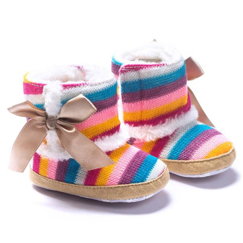 1 Pair Baby Girl Boots Baby Girl Rainbow Bowknot Soft Sole Snow Boots Soft Crib Shoes Toddler winter Boots bota infantil D10 (4)