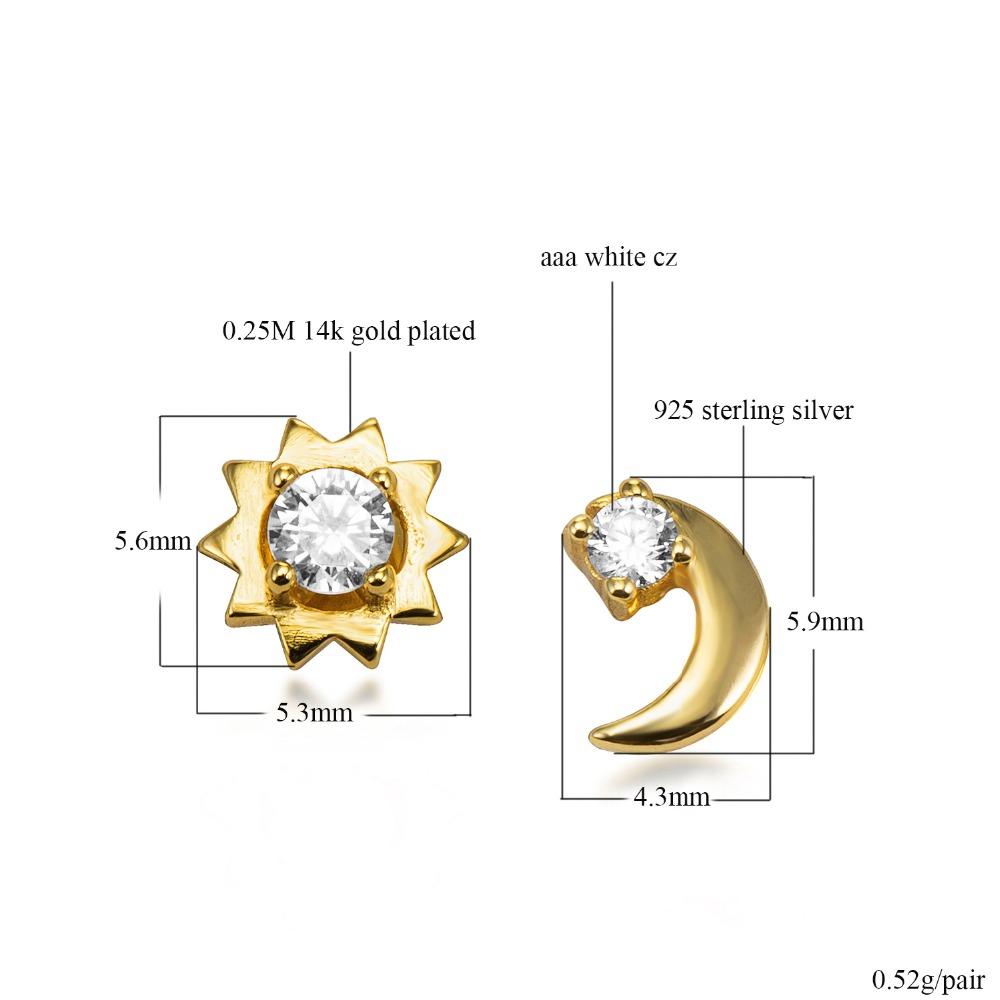 925 Sterling Silver Moon Stud Earrings Design 2