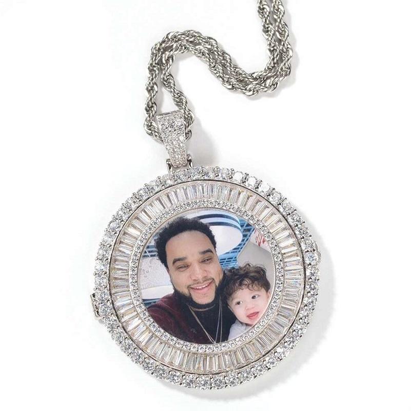 iced out custom picture pendant necklaces men women hip hop luxury designer diamond customize photo pendants couple family jewelry love gift