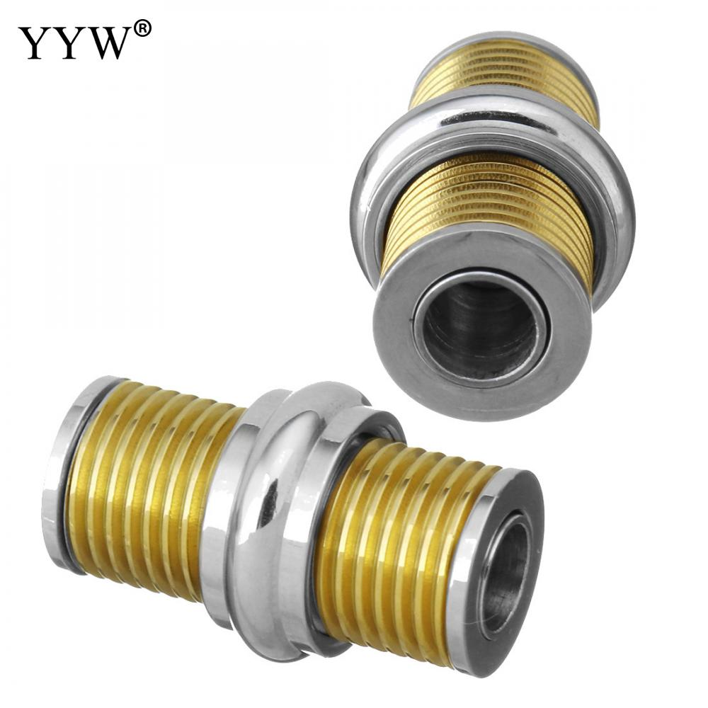 Gold Original Stainless Steel Magnetic Clasps Fit 5mm Leather Cord Bracelet Necklace Connectors for DIY Jewelry Making