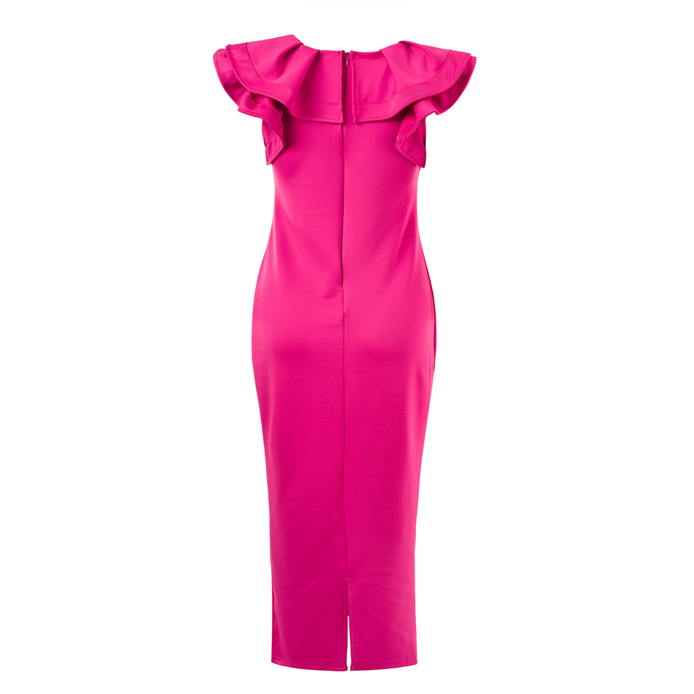 Fashion Women Ruffle Neck Slit Hem Mid-calf Dress Solid Color Sleeveless Party Cocktail Slim Bodycon Dress Black/Rose Vestidos