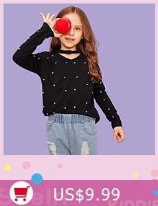 61a182b20f 2019 Shein Black Turtleneck Casual Kids Sequin T Shirt Girls Tops ...