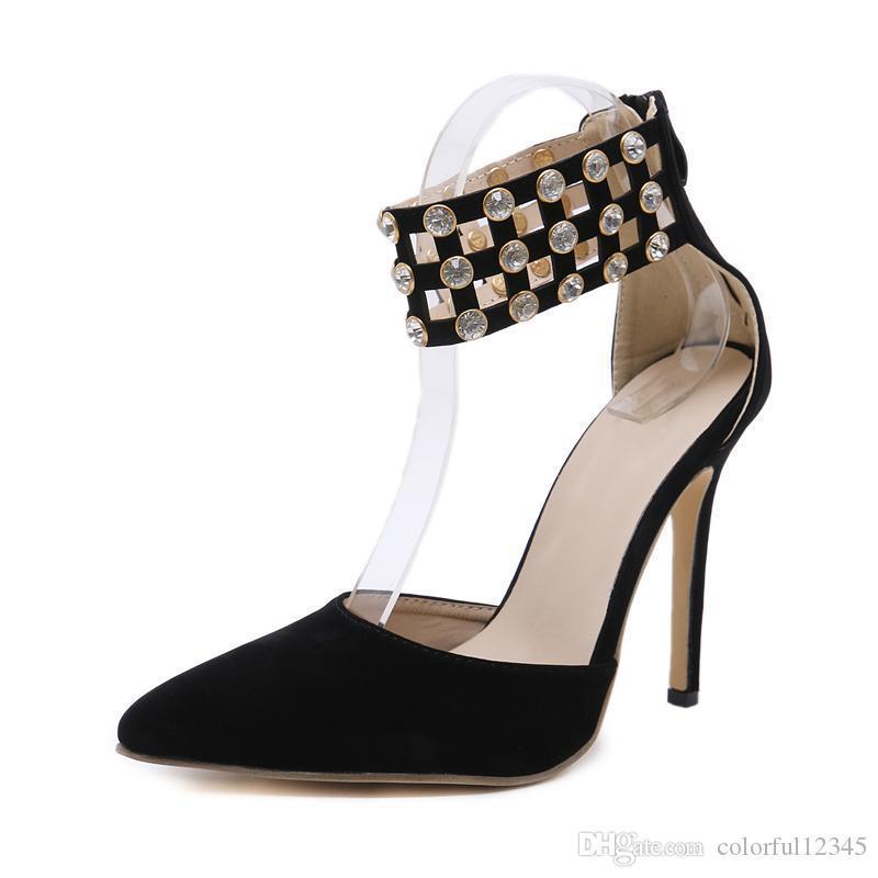 Sexy2019 Po Gladiatore Flock scarpe a punta scarpe da donna Sandali con tacco alto in cristallo pop estate