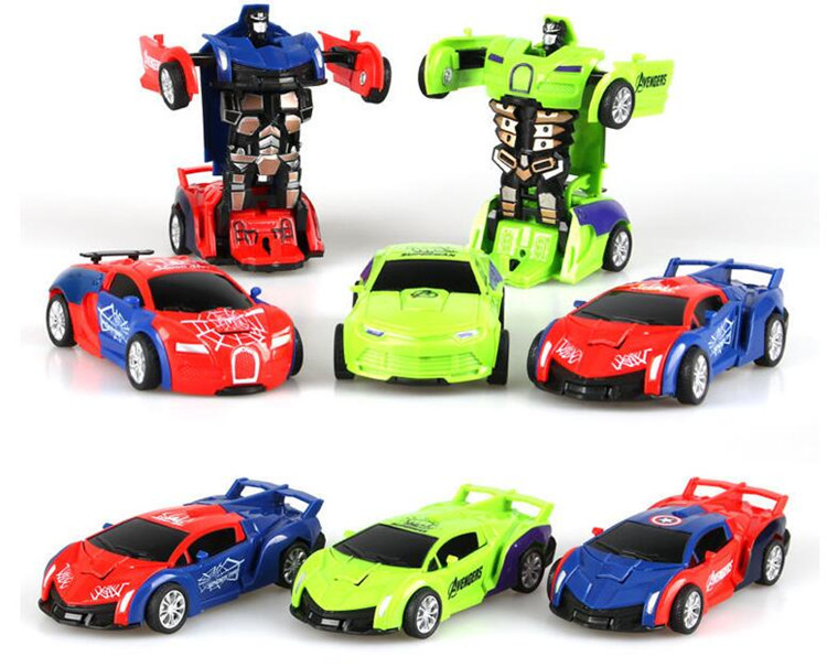 Spider-Man Captain America Deformation Robot Electric Car Light Music kids Toys