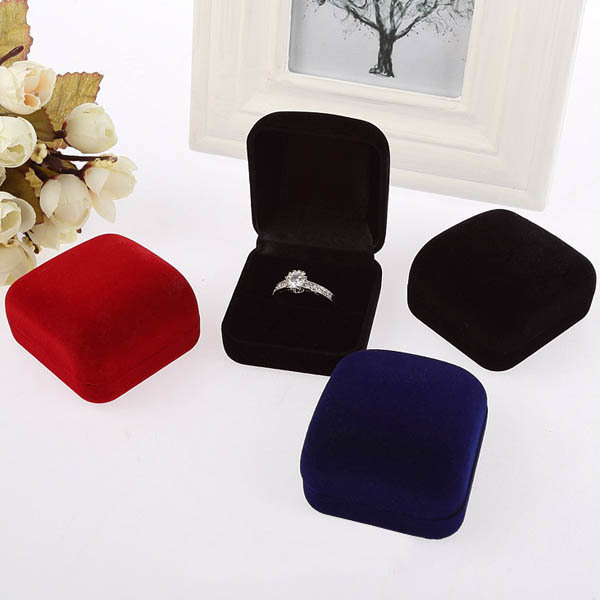 Black/Red/Blue Wedding Jewellery Velvet Earring Ring Storage Box Gift Packing Box For Jewelry Display Storage Foldable Case