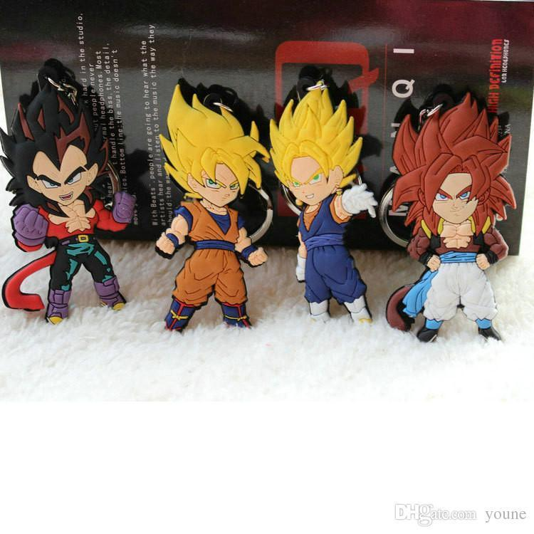 20 unids Anime Dragon Ball Z mono llavero Son Goku Super Saiyan silicona PVC llavero figura de acción colgante llavero colección de juguete
