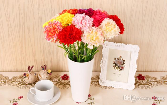 Wholesale High Simulation Artificial Carnations Bouquet Silk Flower For Home Living Room Party Wedding Decor Valentine Mother's Day Gift