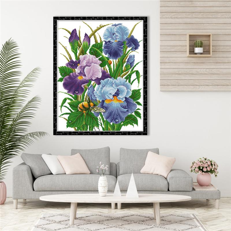 dise/ño de flores de iris blanco Kit de punto de cruz para manualidades