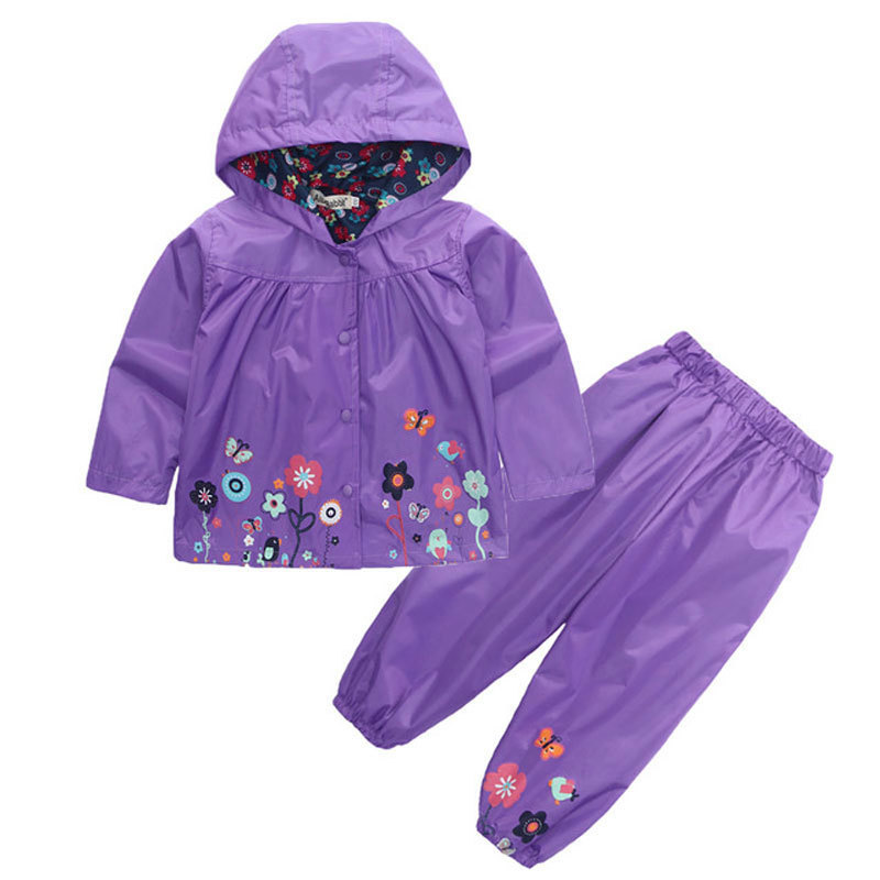 R&z 2018 Children's Fashion Hoodie Pants Jacket Sports Suit Flower Print Girl Windbreaker Raincoat Camping Clothes Y190522
