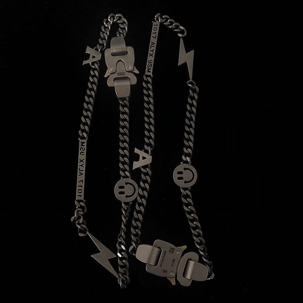 1017 colar de pérolas ALYX 9sm relâmpago ALYX herói Colar Cadeia Hip Hop ALYX Rua Acessórios Smiley