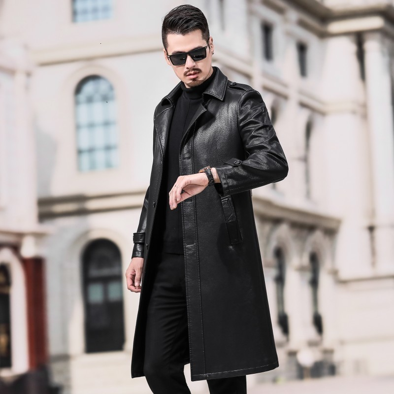 Mens Genuine Leather Chinese Style Thicken Fur Lining Winter Coat Trench Jackets