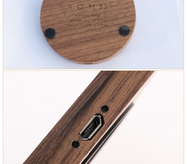 Round Walnut Woodiness Wireless Intelligence Induction Charger Mobile Phone Wireless Charger Source Factory