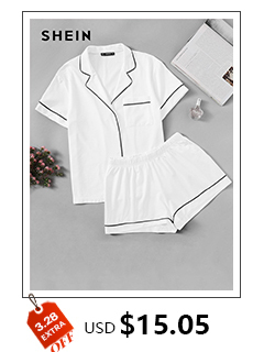e6b679af72 2019 Shein Woman Pajamas Sleepwear White Spaghetti Strap Sleeveless ...