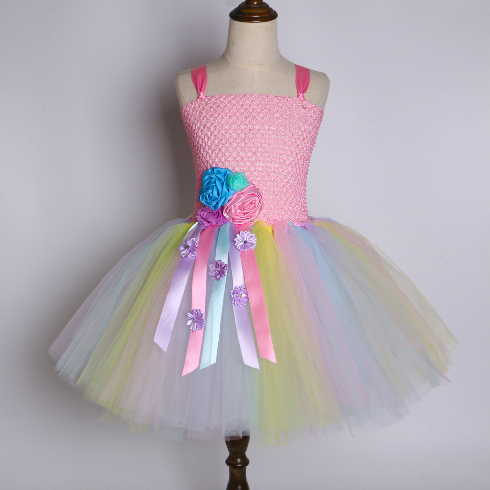 Pastel Girls Flower Unicorn Tutu Dress Sweet Girl Birthday Party Dress Children Kids Tulle Princess Dress Fancy Unicorn Costume J190506