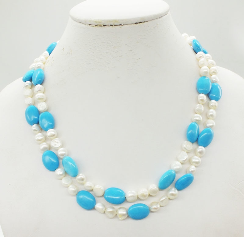 2 Rows AAA 8-9MM Natural Baroque Pearl, Green semi-precious stones Necklace, Classic Bridal Wedding Necklace Jewelry