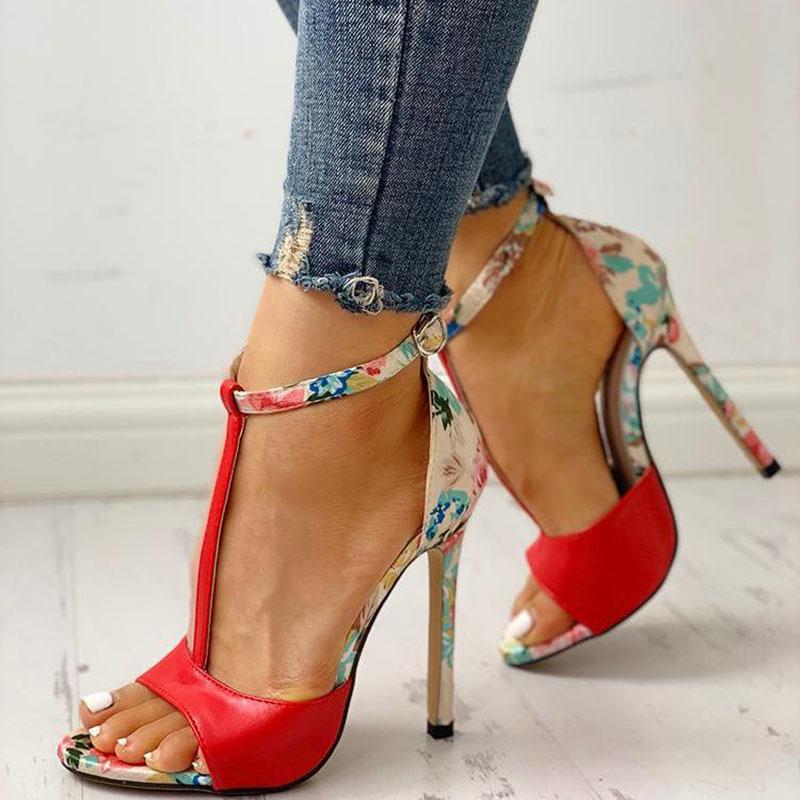 SWQZVT New thin heels women fish mouth open toe summer sexy party pumps women shoes 2020 fashion print vintage ladies sandals (3)