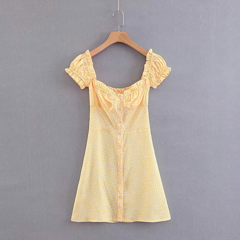 kawaii dress Summer yellow floral elastic mini dress sexy backless chiffon beach dress korean vestidos Casual women clothes 2018