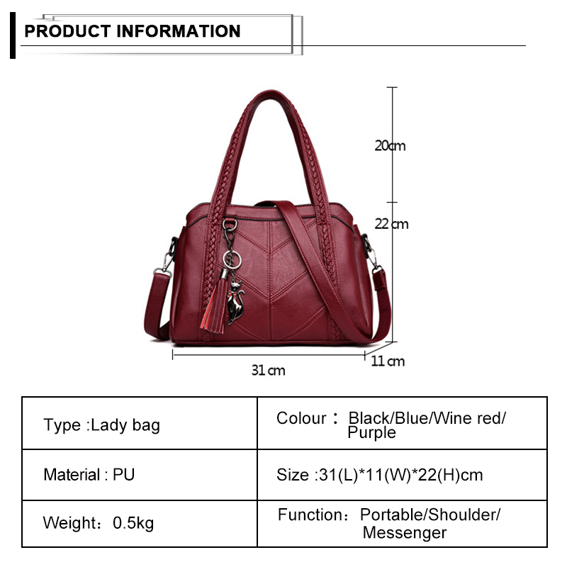 Soft Leather Handbags Tassel Fox Charms Weave Handbag Single Shoulder Bag For Women Casual Tote Bags Ladies Large Capacity J190614