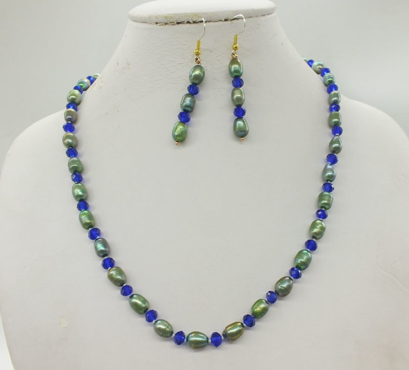 2019-3-13-1450# 7-8MM Natural Freshwater Pearl, Crystal Necklace, Earrings