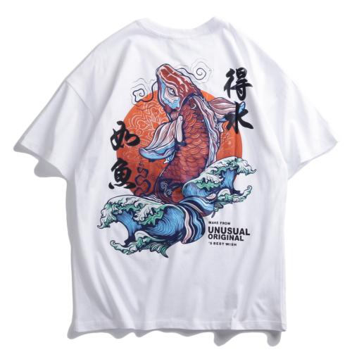 Camisetas de Manga Corta con Estampado de drag/ón Chino para Hombre Camisetas de Cuello Redondo de Corte Slim de Moda