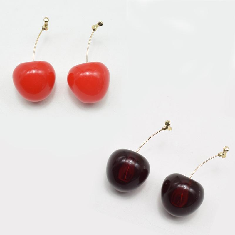 Sweet Girl Red Cherry long boucles d/'oreilles fraise résine Ear Stud Bijoux Femme