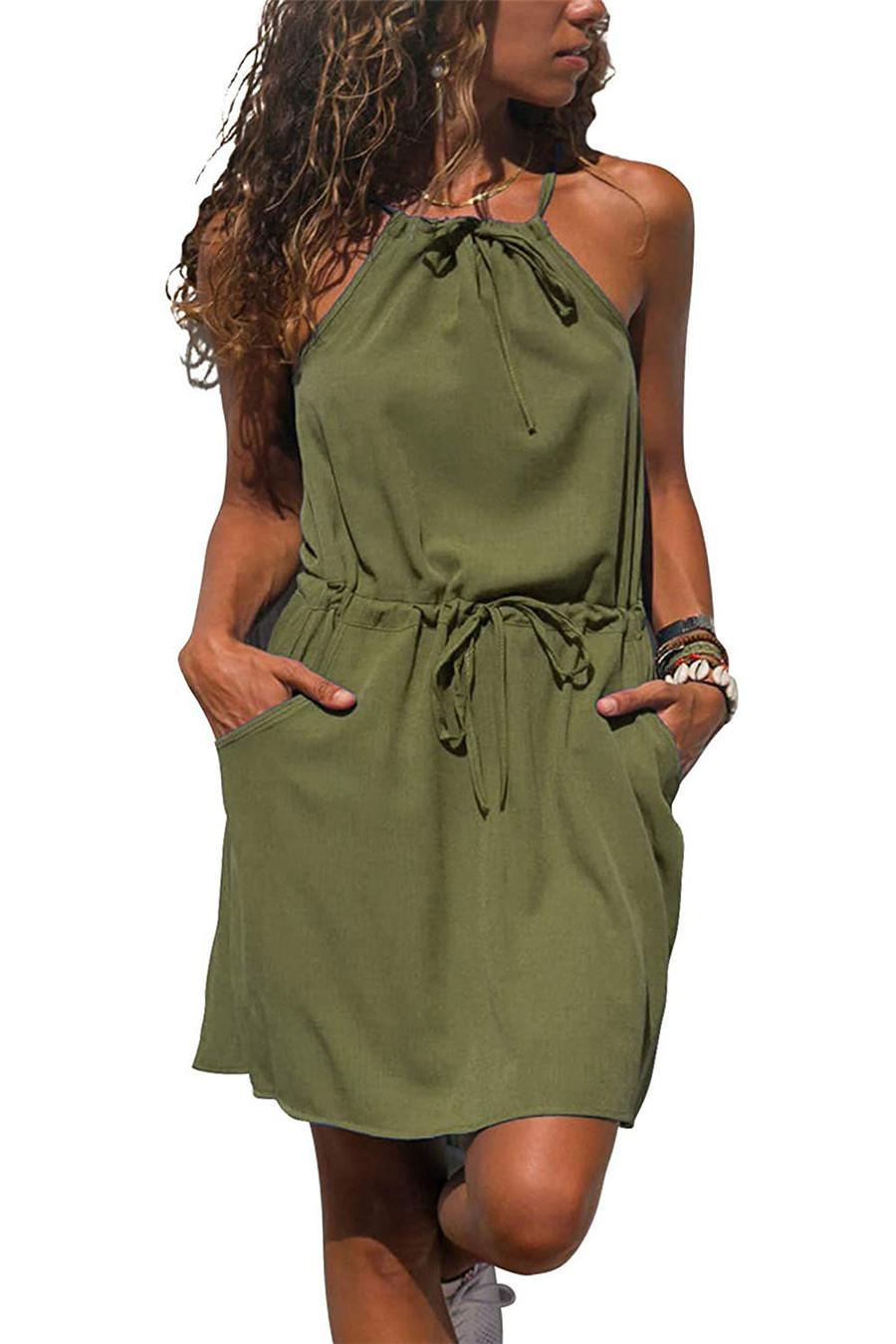 Gladiolus Chiffon Women Summer Dress Spaghetti Strap Floral Print Pocket Sexy Bohemian Beach Dress 2019 Short Ladies Dresses (47)