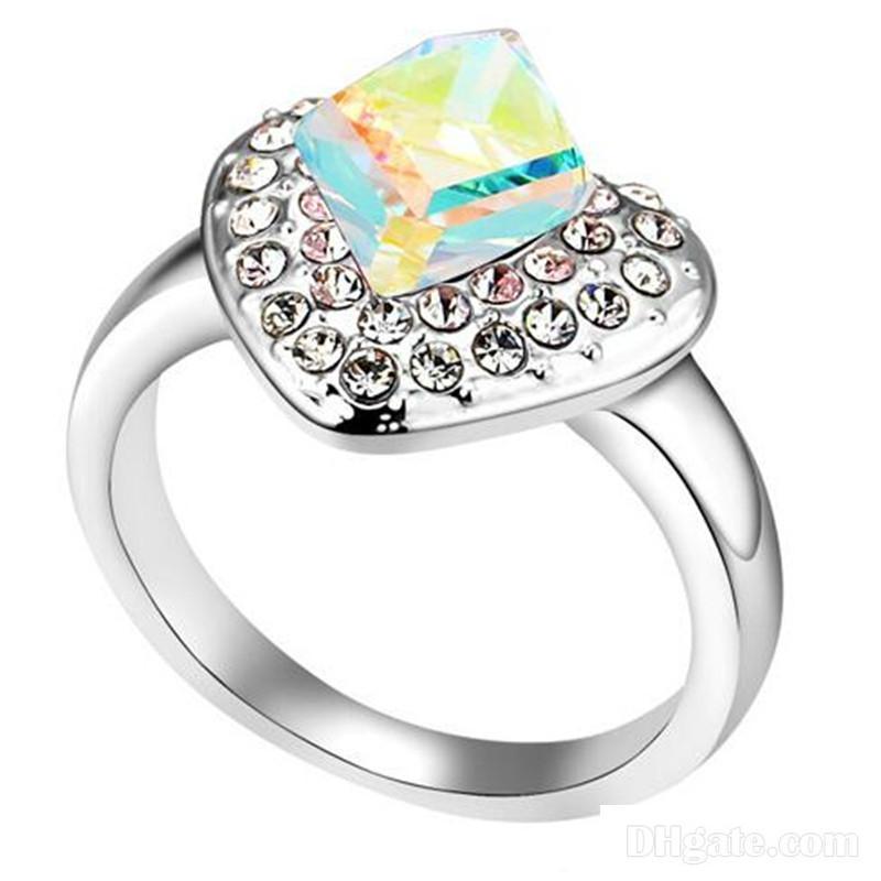 Goldring 24 quilates de oro gp anillo de compromiso anillo de bodas pedrería piedra anillo Anillo de diamantes