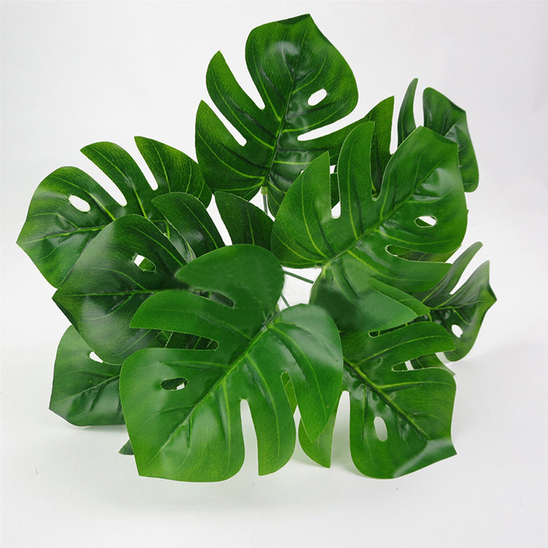 1pc Artificial Flowers with Leaf Green Grass Plastic Plants Fake Leaf Foliage Bush for Home Wedding Decoration Party Supplies