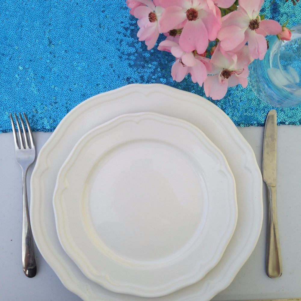 Turquoise Sequin Tablecloth-002