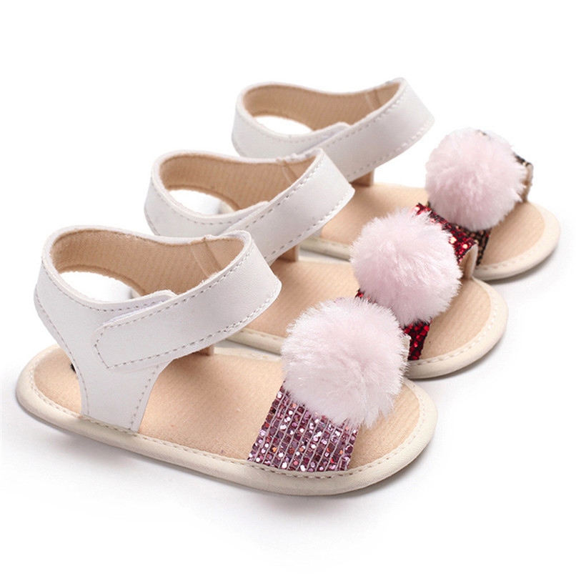 3 Color Summer Baby Girl Shoes Newborn Toddler Baby Girl Soft Ball Sequins Sandals Soft Sole Anti-slip Shoes Girl Sandals JE14#F (1)