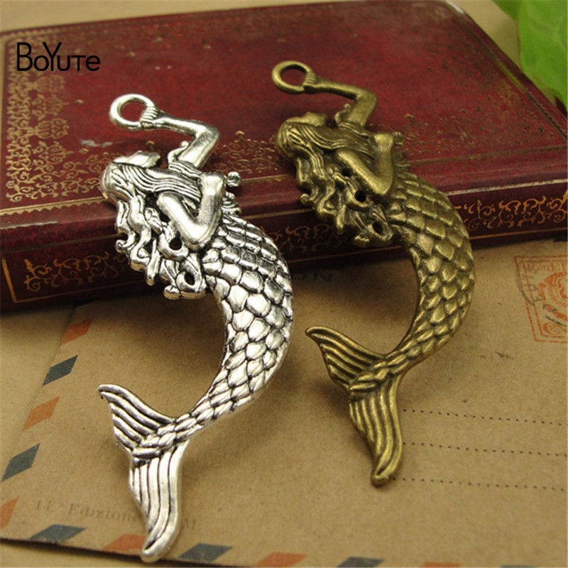 BoYuTe (30 PiecesLot) Antique Bronze Silver Mermaid Pendant Charms Diy Hand Made Jewelry Accessories (1)