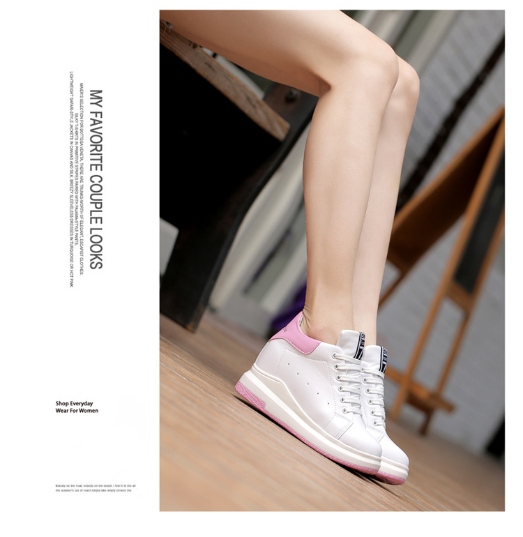 WADNASO Height Increased Casual Shoes Woman Wedge Platform Sneakers Lace Up Breathable Hide Heels Ladies Shoes Female XZ108 (20)