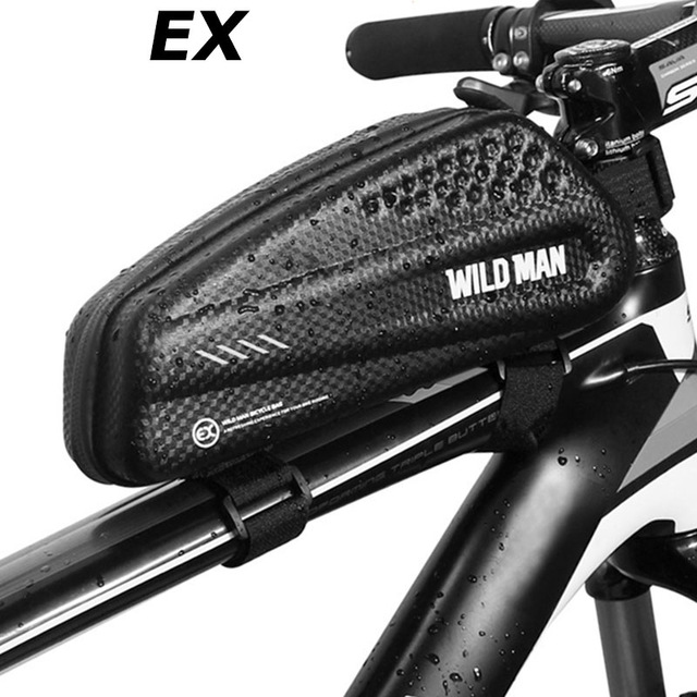 JF#E Black Waterproof Mountain Bike Triangle Bag Bicycle Frame Front Tube Bags